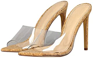 Women's Clear Slip On High Heels Plastic Melrose