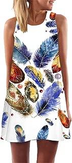 BingYELH Women's Plus Size Bohemian Summer Shift Dress Sleeveless Tank Dress Feather Printed Casual Beach Short Mini Dress