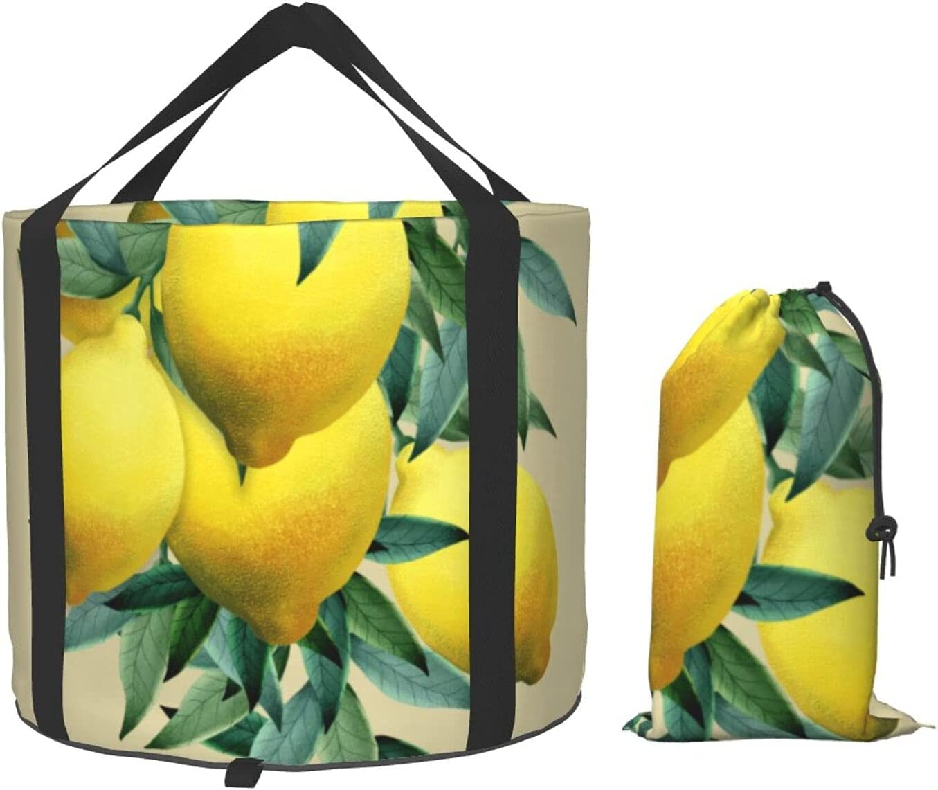 Fresh Lemons Multifunctional Foldable Quality inspection Water Pa Max 85% OFF Bucket Green Leaf