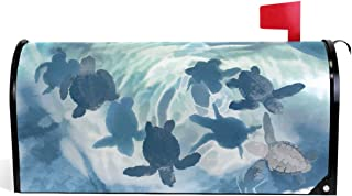 Wamika Sea Turtle Watercolor Blue Ocean Summer Autumn Spring Winter Mailbox Covers Standard Size Seasonal Turtle Funny Animal Magnetic Mail Wraps Cover Letter Post Box 21