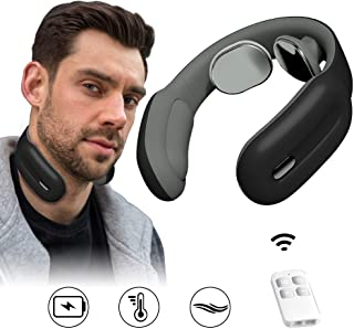 Neck Massager, HUNNAY Neck Relax Massagers with Cordless Heat, 3 Modes 15 Levels Intelligent Portable Trigger Point Neck Massage Electric Pulses for Men and Women