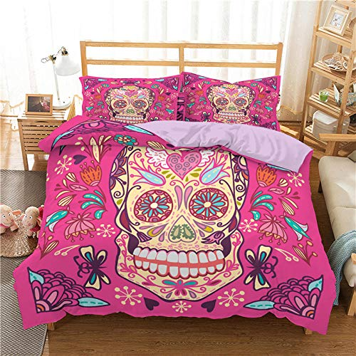 Snoevpar Duvet Cover Set Pink Cartoon Halloween Skull 135 * 200Cm Duvet Cover With 2 Pillowcases 3D Printed Bedding Set With Zipper Closure 3 Pieces Hypoallergenic Soft Microfiber Double