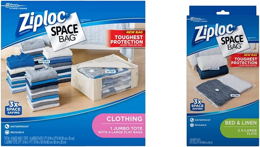 Ziploc ストア Space Bags 期間限定 Storage for Waterproof Reusable 4 Clothes
