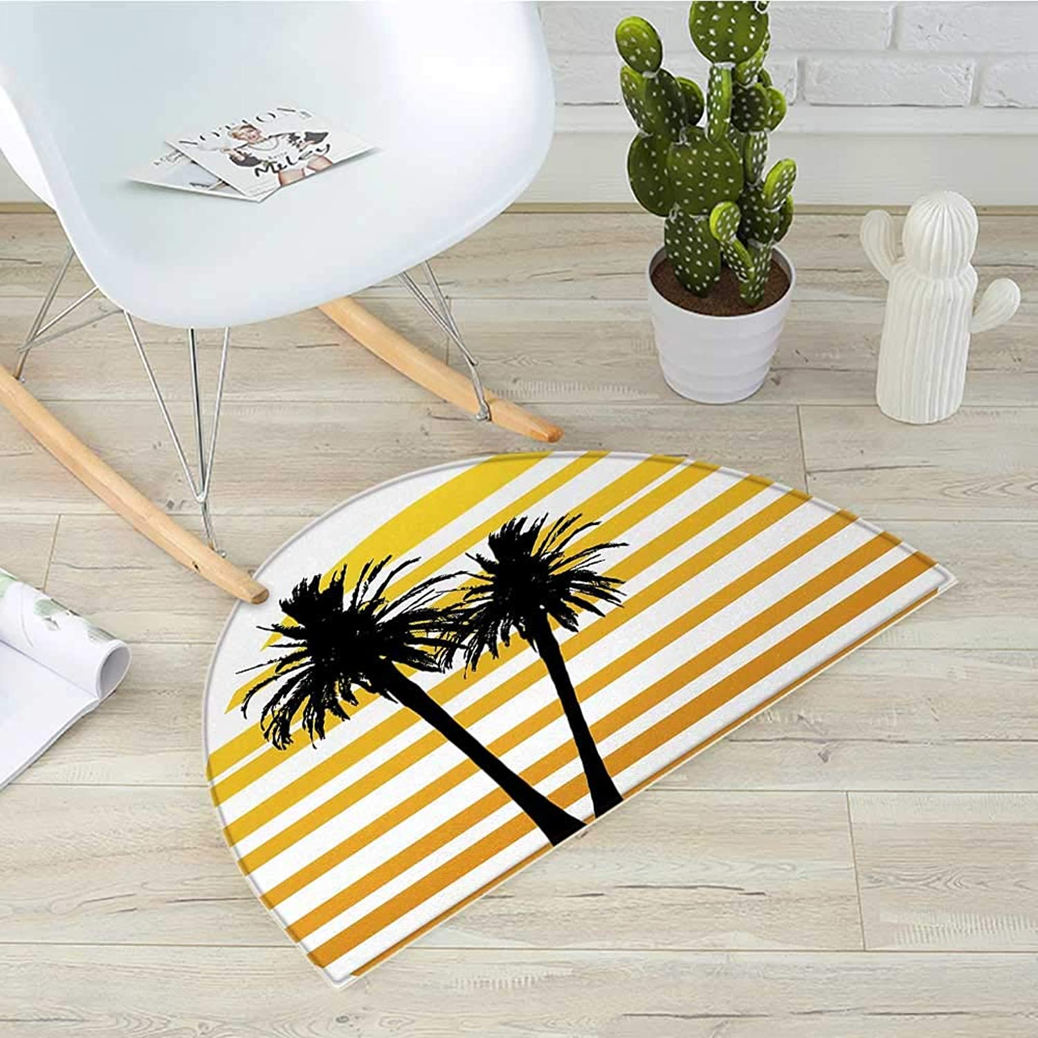 Tropical Semicircular CushionCoconut Palm Trees on Horizontal Tiled Background Summer Holiday Graphic Entry Door Mat H 39.3  xD 59  Apricot Yellow Black