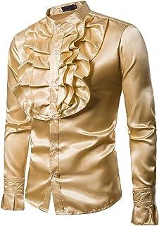 HERW Black Silk Satin Slim Fit Shrt Men Vintage Wedding Tuxedo Dress Shirts