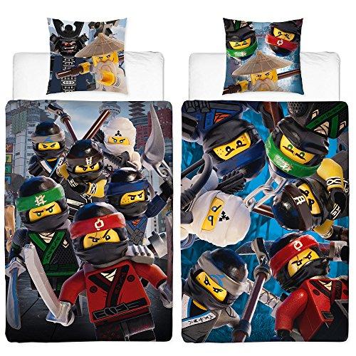 Lego Ninjago Parure de lit pour enfant Motif Movie Battle 135 x 200 cm + 80 x 80 cm 100 % coton Linon – Cole – Jay – Kai – Lloyd – Zane – Nya – Misako – Sensei Wu – Renforcé – Taille allemande – Motif réversible