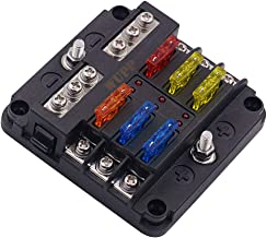 WUPP ST Blade Fuse Block with LED Warning Indicator Damp-Proof Cover - 6 Circuits with Negative Bus Fuse Box for Car Boat Marine RV Truck DC 12-24V, Fuses Included