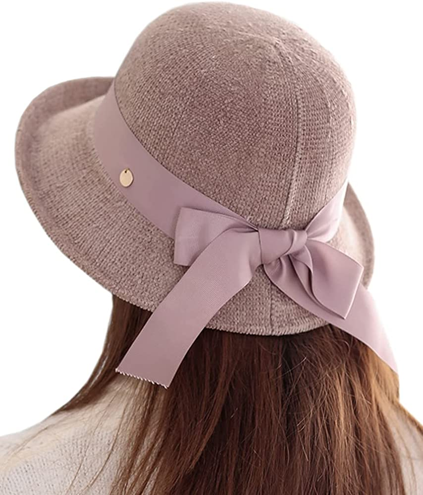 Womens Winter Spring Chenille Fedora Hat, Wide Brim Bow Stylish Cap for Women