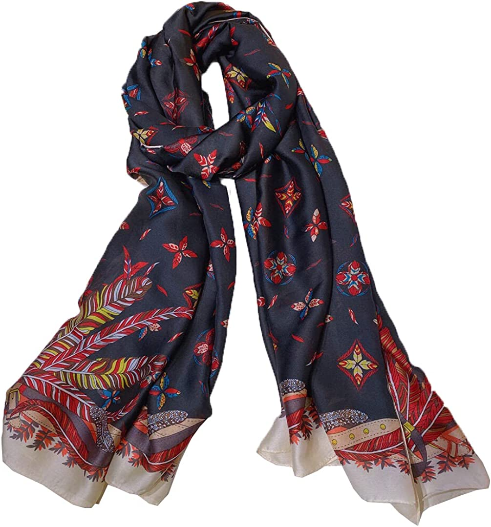 100% silk scarf is suitable for women and men's luxury fashion design, suitable for gifts and various occasions (T22)