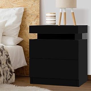 Artiss 2-Drawer Bedside Table, Wooden Bedside Cabinet, Black