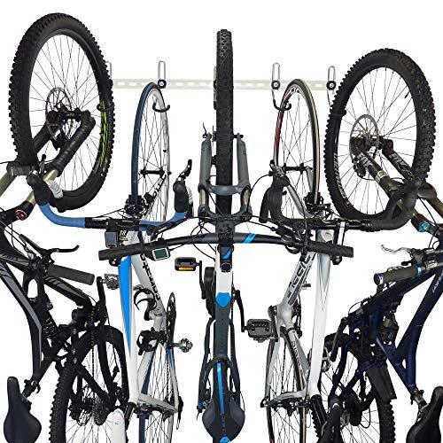 Fahrradhaken Modular System | Multi Bike Wandhaken | 2-5 Fahrrad Aufbewahrung | Perfekte Fahrradhaken für Garage und Innenraum | Fahrrad Aufhängehaken (B2-B5) (weiß, 4 Bike System)