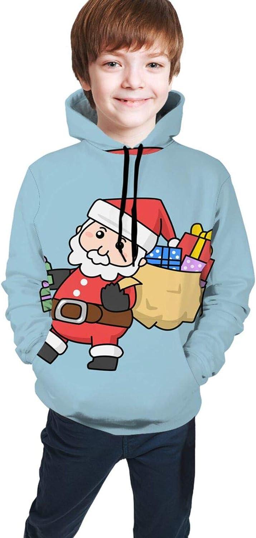 LINCHENC Boys Girls Hoodie, Santa Claus Unisex 3D Printing Teenager Sweatshirt Kids Children's Sweater with Pocket for Age 7-20 Black