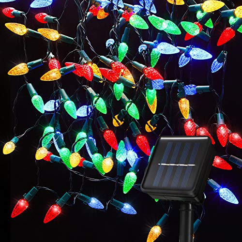 Solar C6 Strawberry String Lights 8 Modes 16.4 Feet Christmas Lights 50 LED Solar Fairy Lights Christmas Light String Outdoor Waterproof for Wedding Party Home Garden Bedroom Outdoor Decoration