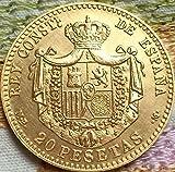 ARUNDEL SERVICES EU ESPAÑOL 20 PESETAS MONDEDA 1889 ESPAÑOL RÉPLICA Alfonso XIII Monedas ACUÑAR