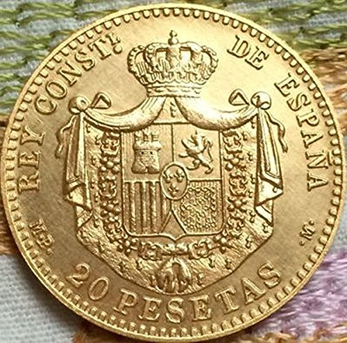ESPAÑOL 20 PESETAS ACUÑAR 1889 ESPAÑOL RÉPLICA ACUÑAR Alfonso XII