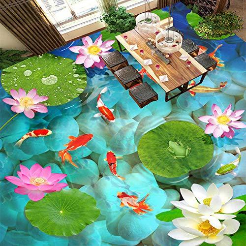 Estilo chino 3D estéreo lotus carpa piso pintura mural papel de pared sala de estar baño al aire libre impermeable usando papel tapiz de vinilo 250x175cm
