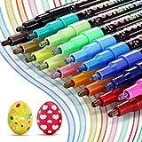 Penne di Contorno, Buluri 18 Colori Glitterate Penne Contorno, Penne di contorni a Doppia Linea Penne per Pittura per Fare Biglietti di Auguri, Scrapbooking, Pittura Artigianato fai da Te