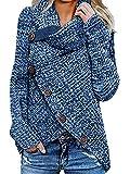 kenoce Maglione Donna Collo Alto Maglione Donna Casual Pullover Manica Lunga Casual Moda Tops Asimmetrico Maglione Maglione Autunnale e Invernale H-Blu M