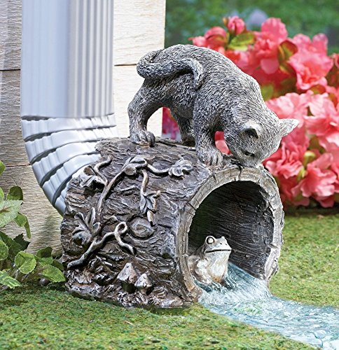 CT DISCOUNT STORE Decorative Downspout Extension Outdoor Garden Statue (Playful Chasing Kitty and Frog)