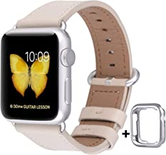 JSGJMY Compatible for Iwatch Band 38mm 40mm S/M Women Genuine Leather Loop Replacement Strap for iWatch Series 5 4 3 2 1, Ivory White with Silvery White Clasp