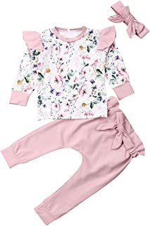 3PCS Infant Baby Girl Clothes Floral Ruffle T-Shirt Long Sleeve Tops Pants Trouser Headband Outfits Set
