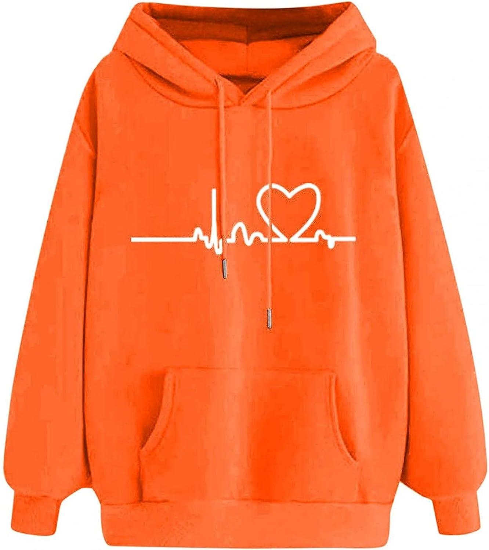 Hoodies for Women, Teen Girl Fall Winter Hoodies Long Sleeve Pullover Sweatshirt Heartbeat Casual Sweater Tops