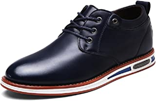 Meeshine Men's Modern Leather Lace-up Flat Oxford Sneakers Dress Shoes