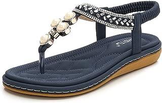 Women's Bohemian Beach Flat Dress Thong Sandals
