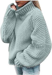 Women's Oversized Lantern Sleeve Jumper Turtleneck Knitted Sweater Casual Loose Pullover Tops KLGDA
