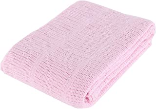 Battilo 100% Soft Premium Cotton Thermal Waffle Blanket Couch Quilt - Perfect for Layering Any Bed (150x200cm, Pink)
