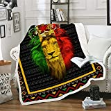 Colorful Lion Blanket with Crown Super Soft Throw Blankets for Couch Lion King Fleece Blankets Summer Sherpa Anime Plush Blanket Wild Animals Throw Blanket for Bed (51 x 59 in)