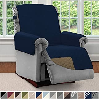 Sofa Shield Original Patent Pending Reversible Recliner Slipcover, 2 Inch Strap Hook Seat Width Up to 28 Inch Washable Furniture Protector, Slip Cover Throw for Pets, Kids, Cats, Recliner, Navy Sand