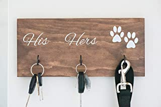 """Wall Mounted His Hers and Paws Leash and Key Holder, Dog Lover Gift for Women, 12"""" by 5.5"""""""