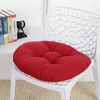 ZMIN Thicken Round Chair Cushion, Linen Cotton Soft Seat Pads Cushion Futon Floor Pillow Stool Mat Sofa Home Student Office-Burgundy 50x50cm(20x20inch)