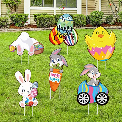 Jetec 6 Pieces Easter Yard Signs Large Size Easter Outdoor Decorative Stake Signs Eggs Chick Yard Outdoor Decorations for Easter Yard Garden Outdoor Party Supplies