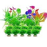 Aisamco Piante artificiali del carro armato del pesce dell'acquario,16 piante dell'acquario delle piante Decorazioni del carro armato di pesce, piante di plastica artificiali Decorazione dell'acquario