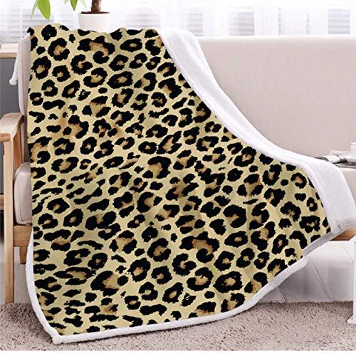 Manta de cama con patrón de leopardo Manta suave Ropa de cama mullida de microfibra Manta de tiro Manta Sherpa de vellón Colcha Decoración para el hogar Mantas 130 * 150cm