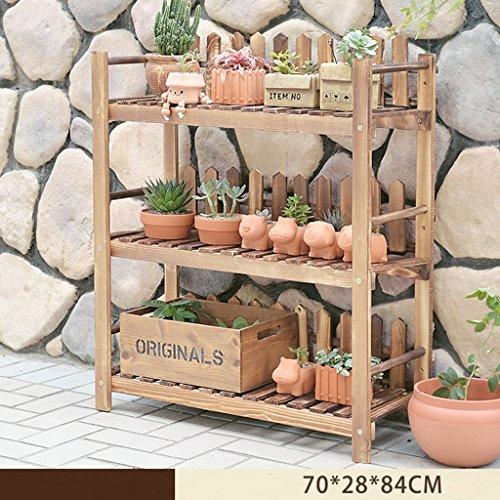 HJ support à fleurs Yxsd Solide étagère en Bois Multicouche intérieur extérieur Plancher Pot Rack Balcon Pliant étagère (Size : 70 * 28 * 84cm)
