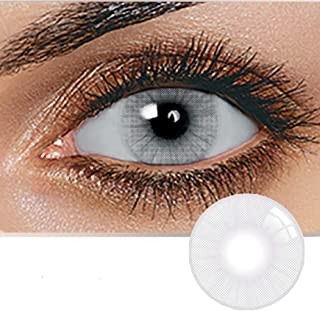 Unisex Contact Lenses, Natural and Beauty Collection Cosmetic Contact Lenses, 12 Months Disposable with Case- Icy Gray