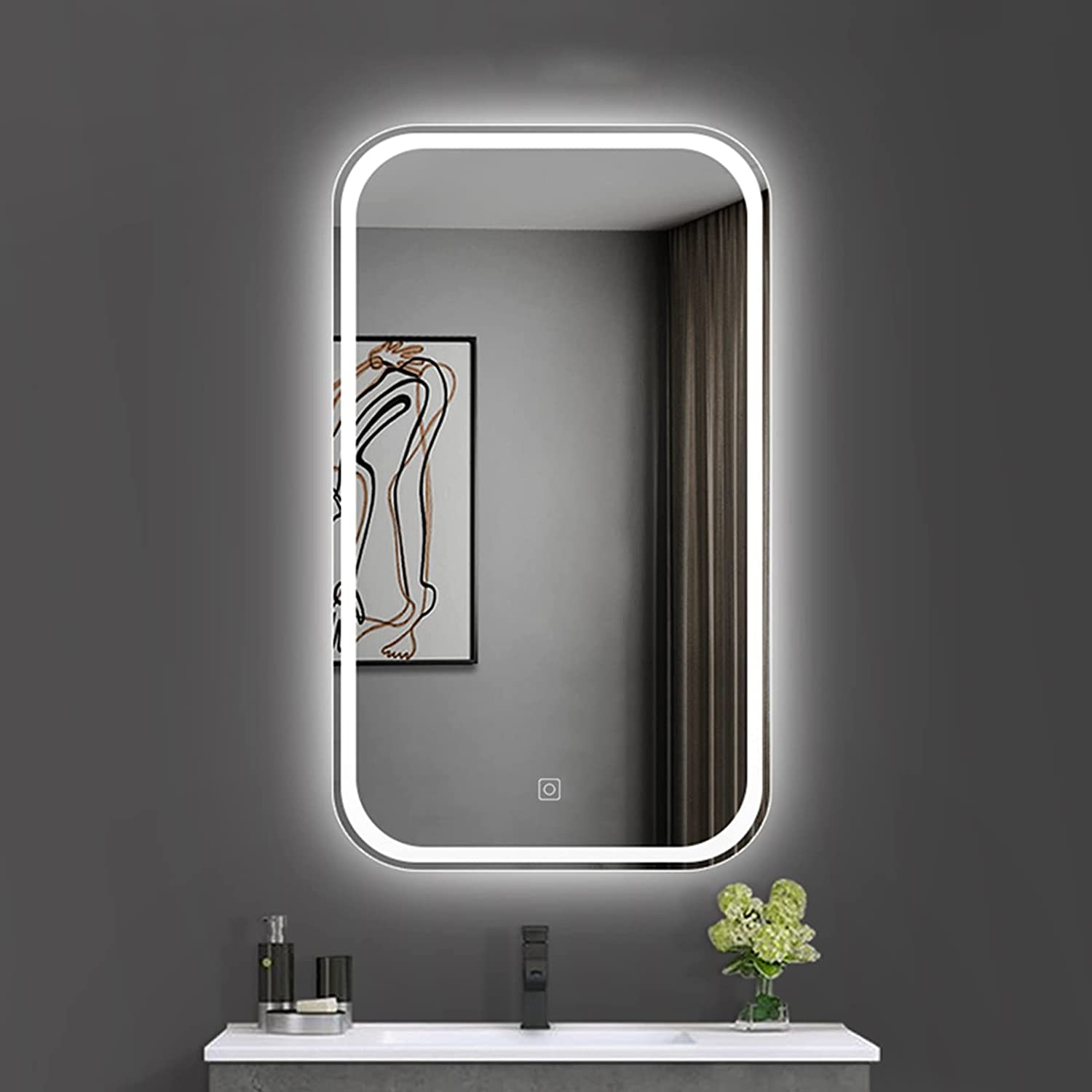 ZRXRY Dimmable LED Free Shipping Cheap Portland Mall Bargain Gift Bathroom Mirror V with Anti-Fog Wall Mounted