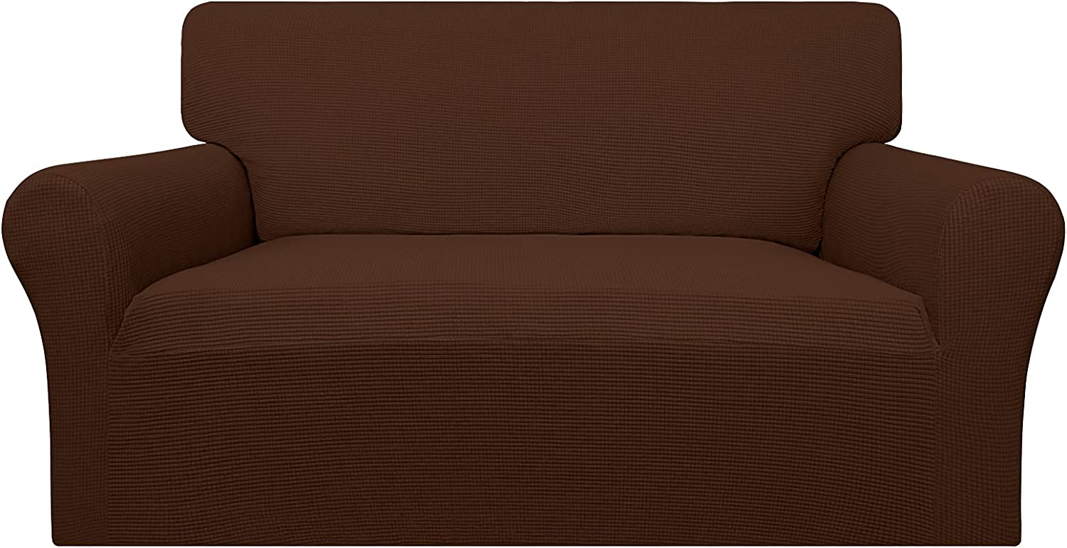 Easy-Going 100% Waterproof Loveseat Couch Cover,Dual Waterproof Sofa Cover, Stretch Jacquard Sofa Slipcover, Leakproof Furniture Protector for Kids, Pets, Dog and Cat ( Loveseat, Coffee)