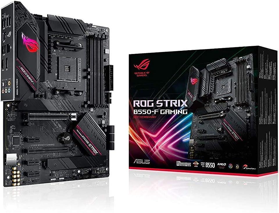 ASUS ROG Strix B550-F Gaming AMD AM4 Zen 3 Ryzen 5000 & 3rd Gen Ryzen ATX Gaming Motherboard (PCIe 4.0, 2.5Gb LAN, BIOS Flashback, HDMI 2.1, Addressable Gen 2 RGB Header and Aura Sync) (Renewed)