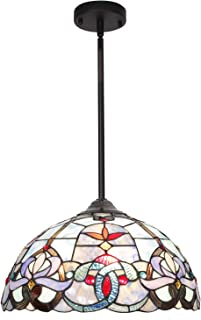 BONLICHT Traditional Multi-Colored Glass Chandelier Antique Tiffany Style Victorian 3-Light Ceiling Pendant Fixtures Hanging 16-Inch Shade,Vintage Romantic Stained Glass Pendant Lighting UL Listed