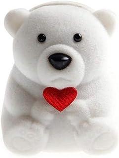 Clenp Caja de anillos, caja de anillo de boda creativa con forma de corazón de oso flocado para joyería de almacenamiento ...