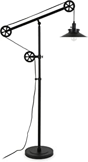 Henn&Hart FL0147 Industrial Wide Brim Floor Pulley System, Blackened Bronze Finish Lamp, Black