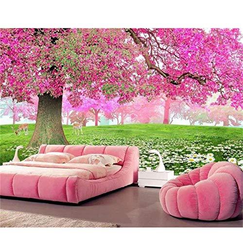 Wandgemälde Individuelle Fototapeten Wohnwand Kirschbaum Blume Seebild Tv-Hintergrund Wand Vliestapete Für Die Wand-400cmx280cm