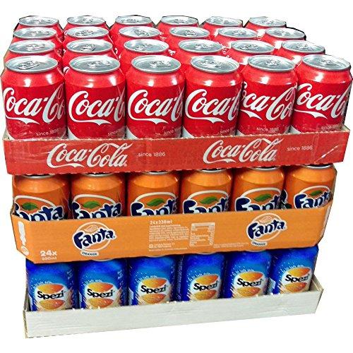Coca Cola Original, Fanta Orange & Spezi je 24 x 0,33l Dose XXL-Paket (72 Dosen gesamt)