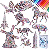 Max Fun 10 Pack 3D Coloring Puzzles Set for Kids with 36 Coloring Pen Markers DIY Educational Art Coloring Painting Puzzle Toys Gifts for Girls Boys