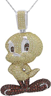AFFY Round Cubic Zirconia Tweety Birds Hip Hop Pendant in 14k Gold Over Sterling Silver (4.11 Cttw)