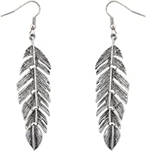 Lux Accessories Burnished Metal Leaf Tree Of Life Feather Dangle Earrings